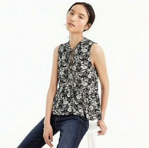 J. Crew Black and White Sleeveless Floral Top